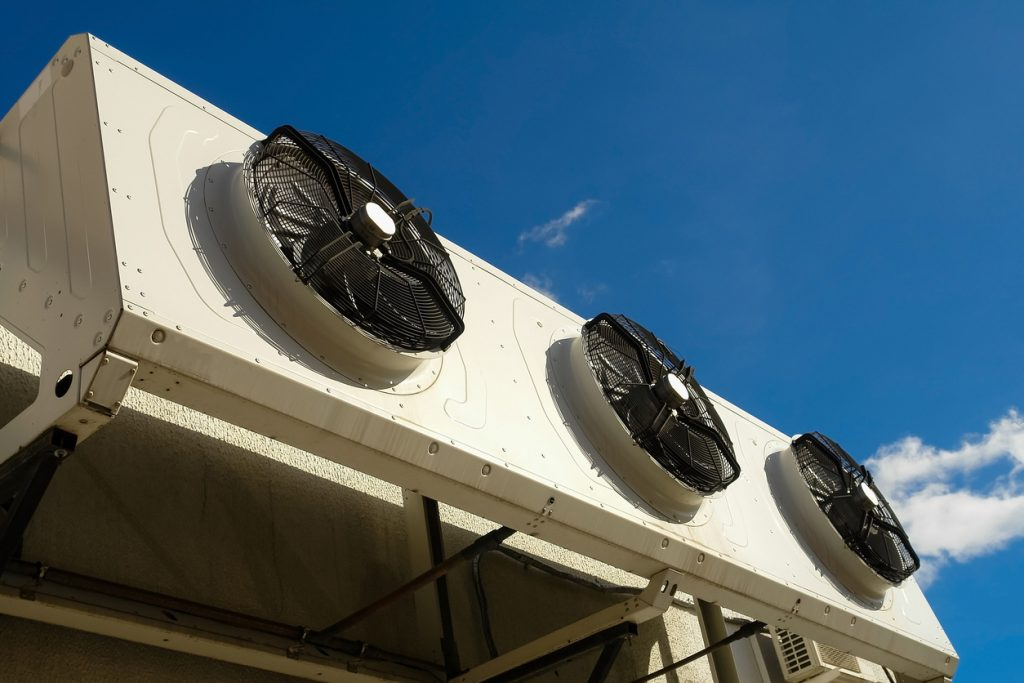Industrial air conditioning system on the wall outdoors