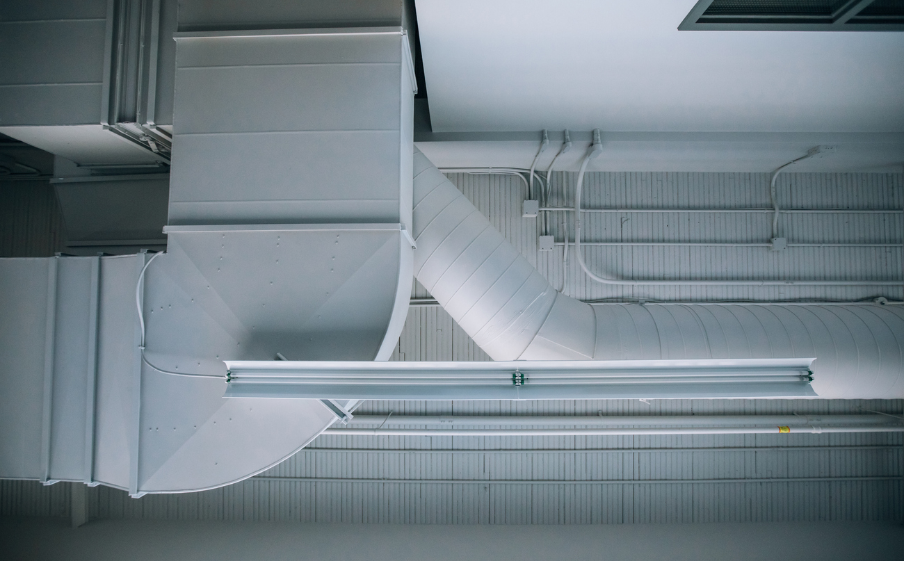 Industrial and commercial air duct view from below